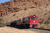 The Ghan coming into Alice Springs in Northern Territory thru Heavitree Gap from Adelaide in South Australia.