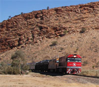 Ghan  coming through Heavitree Gap MacDonnell Ranges