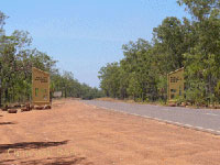 Arnhem Highway and the entrance to Kakadu National Park in Northern Territory Australia