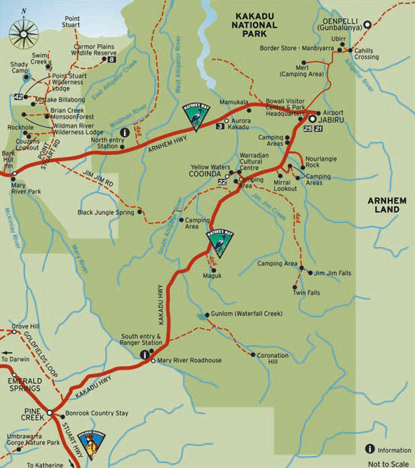 A tourist information map of Kakadu National Park as a tourist information guide - courtesy of Tourism NT