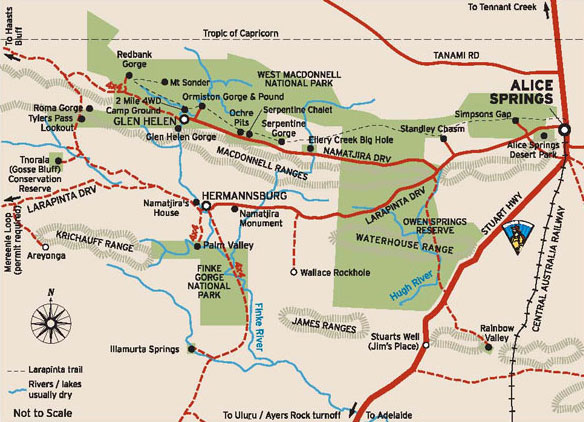Macdonnell ranges map